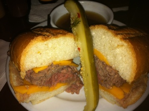 Prime Beef Dip with Au Jus & Atomic Pickle