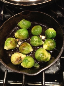 Pan roasted brussel sprouts with garlic