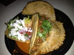 Chicken Empanada, Toastada and Pork Taco from El Zarape