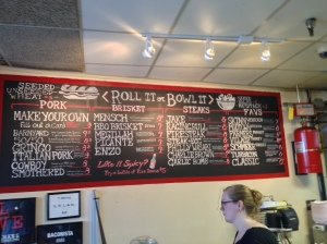 The Menu Board at Jake's Sandwich Board