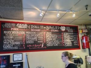 The Menu Board at Jake's Sandwich Board